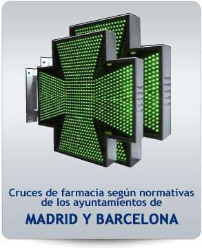 Cruces de farmacia para Madrid y Barcelona