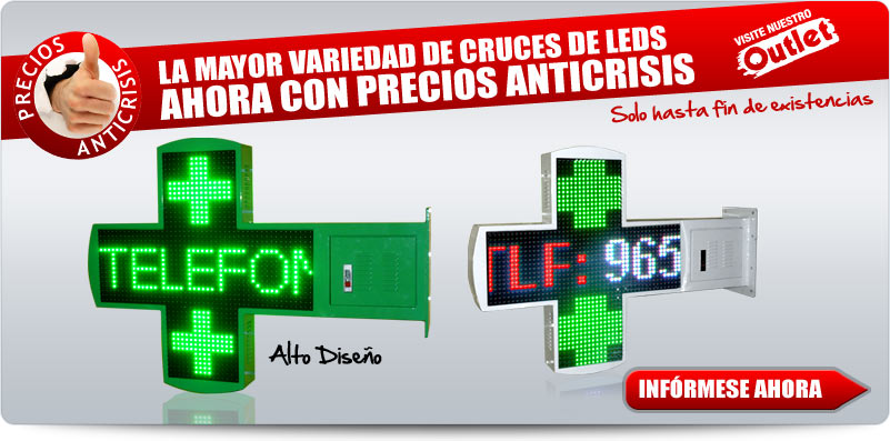 Cruces de farmacia de leds